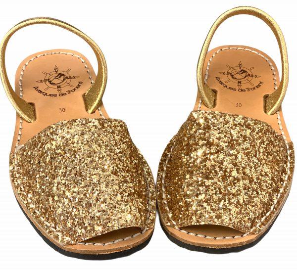 menorquina niño glitter oro
